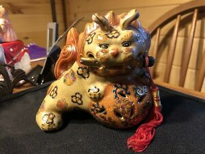 Decorative Golden Multi Color Foo Dog Highly Ornate Komainu Used