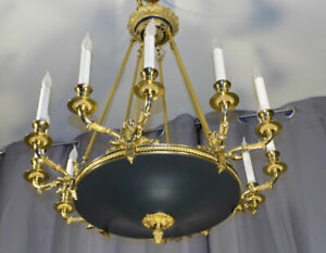 27 5 French Empire Style Brass Tole Chandelier Bouillotte Made In Italy 2
