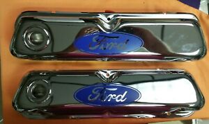 Valve Cover Set Dark Blue Ford Logo Small Block Chrome Plated 260 302 351w 289