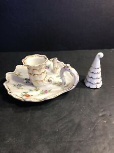 Antique Dresden Porcelain Chamberstick Candle Holder Hand Painted Germany