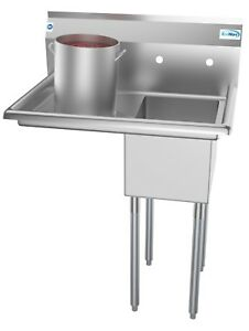 Stainless Steel Nsf Commercial Kitchen Prep Utility Sink With Left Drainboard
