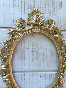 Gold Oval Frame Ornate Baroque French Style Open Back Wedding Portrait