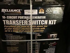 New Reliance Controls 31410crk Portable 10 circuit Generator Transfer Switch Kit
