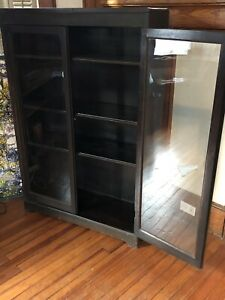 Antique Vintage Bookcase Display Cabinet S With Glass Doors Mahogany