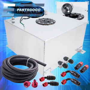 Aluminum 13 Gallon Fuel Cell Tank W Black Cap Braided Nylon Oil Feed Line 10an