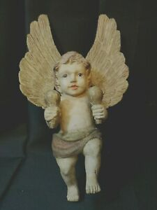 Antique Wooden Angel Hand Carved Painted