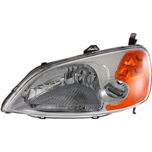 Halogen Headlight For 2001 2003 Honda Civic Sedan Models Left Capa