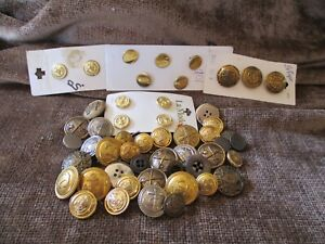 Lot Of 50 Antique Brass Metal Buttons