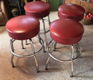 4 Vintage Mid Century Red Vinyl Seat Chrome Leg Swivel Bar Counter Stools 24