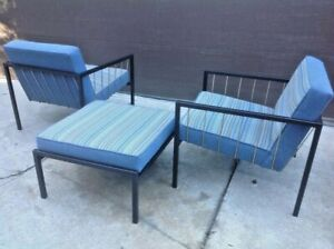 Rare Don Knorr For Vista Iron And Brass Rod Lounge Chairs Eames Knoll Mccobb Era