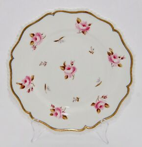 C19th Antique Royal Worcester Hand Painted Plate Roses Buds 23 2cm
