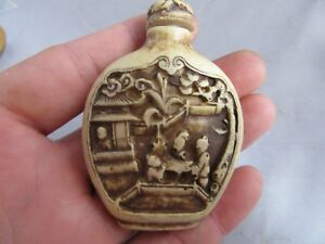 Chinese Master Hand Painted Characters The Story Cattle Bone Snuff Bottle S75
