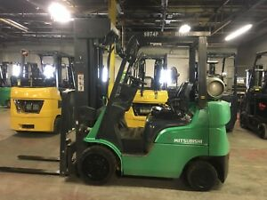 2014 Mitsubishi 4000 Lb Forklift With Side Shift Quad Mast Max Reach 240 Inch