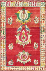 One Of A Kind Bird Design Qashqai Persian Hand Knotted Oriental 4x6 Red Wool Rug