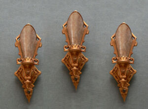 Antique Lincoln Art Deco Set Of 3 Slip Shade Sconces With Mica Shades