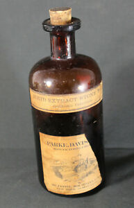 Antique Parke Davis Co Apothecary Fluid Extract Stone Root Sealed Labeled Bottle