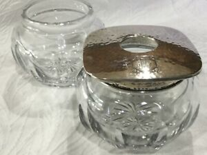 2 Pc Vintage Cut Crystal Dresser Jars One Hammered Sterling Silver Lid Art Deco