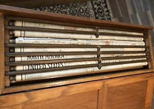 7 Vintage George F Cram Pull Down School Maps With Brass Pulls In Wooden Case