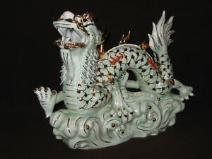 Stunning Scarce Large 16 Long Chinese Estate Vintage Porcelain Dragon Figure