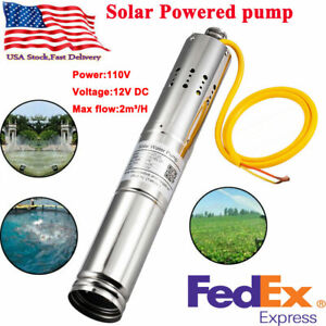 Dc 12v 2m h Solar Powered Water Pump Submersible Bore Hole Deep Well 20m Life