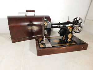 Working 1926 Antique Singer 126 Portable Sewing Machine Decals Bentwood Case Key