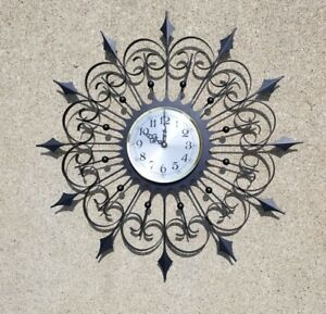 Vintage Black Iron Welby Wall Clock Mid Century Modern Clock Is Not Working