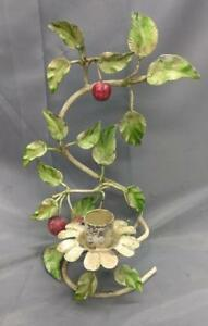 Old Vintage Italian Chic Tole Candle Holder Candlestick Sconce Floral Mcm Shabby