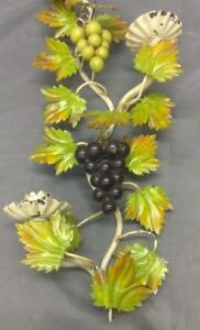 Vintage Italian Italy Tole Grapes Wrought Iron Wall Candle Sconce Metal Mcm Old