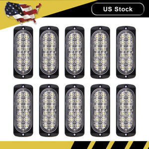 10x Amber white Car 12 Led Emergency Strobe Light Kit Bar Marker Flash Warning S