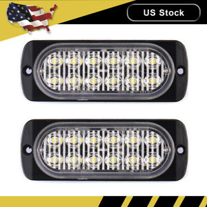 2x Amber White Car 12 Led Emergency Strobe Light Kit Bar Marker Flash Warning Se