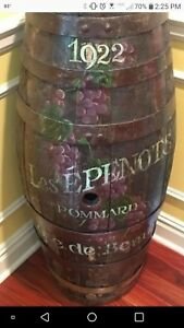 Antique French Primative Painted Flower Wood Wine Barrel Keg