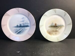 A Pair Of Antique Limoges Hand Painted Porcelain Cabinet Plate France 1888 Sign