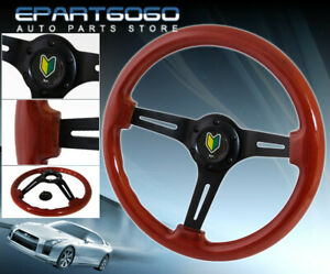 350mm Light Wood Grain Black Steering Wheel Jdm Green Yellow Leaf Button Horn