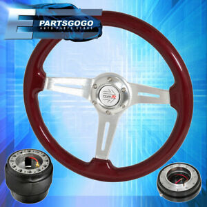 Hub Red Wood Deep Dish Steering Wheel Black Quick Release For 88 91 Civic