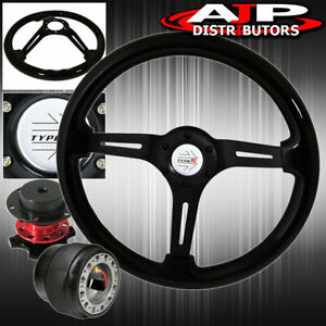 Steering Wheel Black Wood Black Center Quick Release Hub For 96 05 Civic