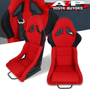 Pair Of Black Fiberglass Bucket Red Cloth Racing Seats W Sliders For Acura