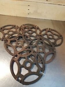 Lot 6 Antique Ornate Cast Iron Stove Burner Covers Trivets