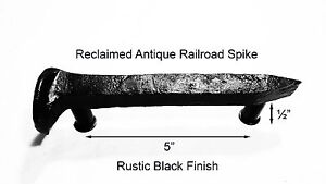 5 Left Black Railroad Spike Door Handle Pull Gate Antique Vintage
