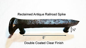 5 Left Sealed Railroad Spike Dresser Drawer Cabinet Handle Antique Vintage