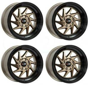 15x8 F1r F07 4x100 4x114 3 25 Machine Bronze Black Lip Wheels Rims Set 4