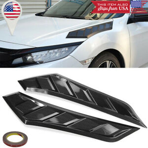 Carbon Effect Decor Hood Bonnet Scoop Air Vent Louver For 16 19 Honda Civic Fk8
