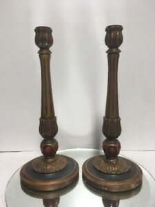 A Pair Of Early C1900 Polychromed Carved Wood Candlesticks Candle Holders