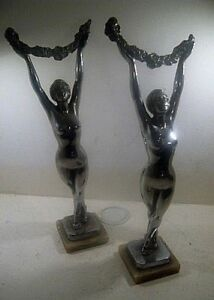 Fine Pair Original 1930 S French Art Deco Female Figurines By Limousin Vgc