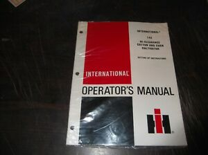 International 144 High Clearance Cotton And Corn Cultivator Operators Manual