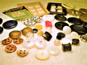 Antique Art Deco Buttons Lot Buckles Vtg Cards Collectible Sewing Estate Mix