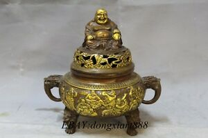10 Chinese Bronze Gilt Eighteen Arhat Buddha Incense Burner Incensory Censer