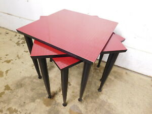 1960s Nesting Set Snack Danish Mid Century Modern Black Red Stacking 3 Tables