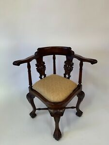 Corner Accent Chair Solid Mahogany Carved Scrollwork Claw Feet Finest Quality