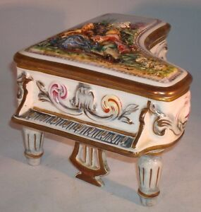 Vintage Capodimonte Gb R Porcelain Piano Jewelry Box Marked And Numbered Italy