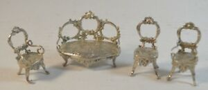 Antique 800 Silver Miniature Sofa And Chairs